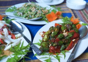 Bean salad with peanuts, okra salad, squid salad.  All rather wonderful.