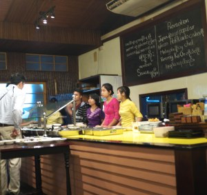 "At ""Feel Myanmar"" the customer went up to the counter and pointed at the dishes that looked appealing."